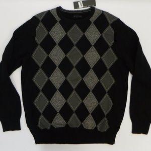 Geoffrey Beene Sweater Crew Neck Argyle Pullover